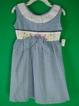 10 x OSH KOSH GIRLS GINGHAM CHECK FLOWER DESIGNER SUMMER TIE UP DRESSES - £4.50 EACH