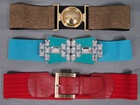 4500 MIXED QUALITY LEATHER AND VINTAGE BIG BUCKLE STYLE ELASTIC BELTS, £1.50 EACH