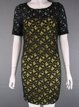 12 X BODY CONTOURED YELLOW LINED BLACK LACE DRESS £4.00 EACH