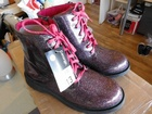 13000 X GEORGE PURPLE GLITTER DOC MARTIN STYLE GIRLS BOOTS, £1.40 EACH