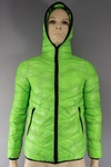877 PADDED UNISEX LIME GREEN AND RED LIGHTWEIGHT PADDED GILLETS AND JACKETS WITH HOODS. JUST £4.00 EACH