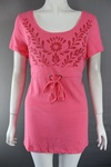 5100 X LADIES HIGH QUALITY 100% COTTON TIE WAIST TOPS WITH DECORATION. £1.25 EACH